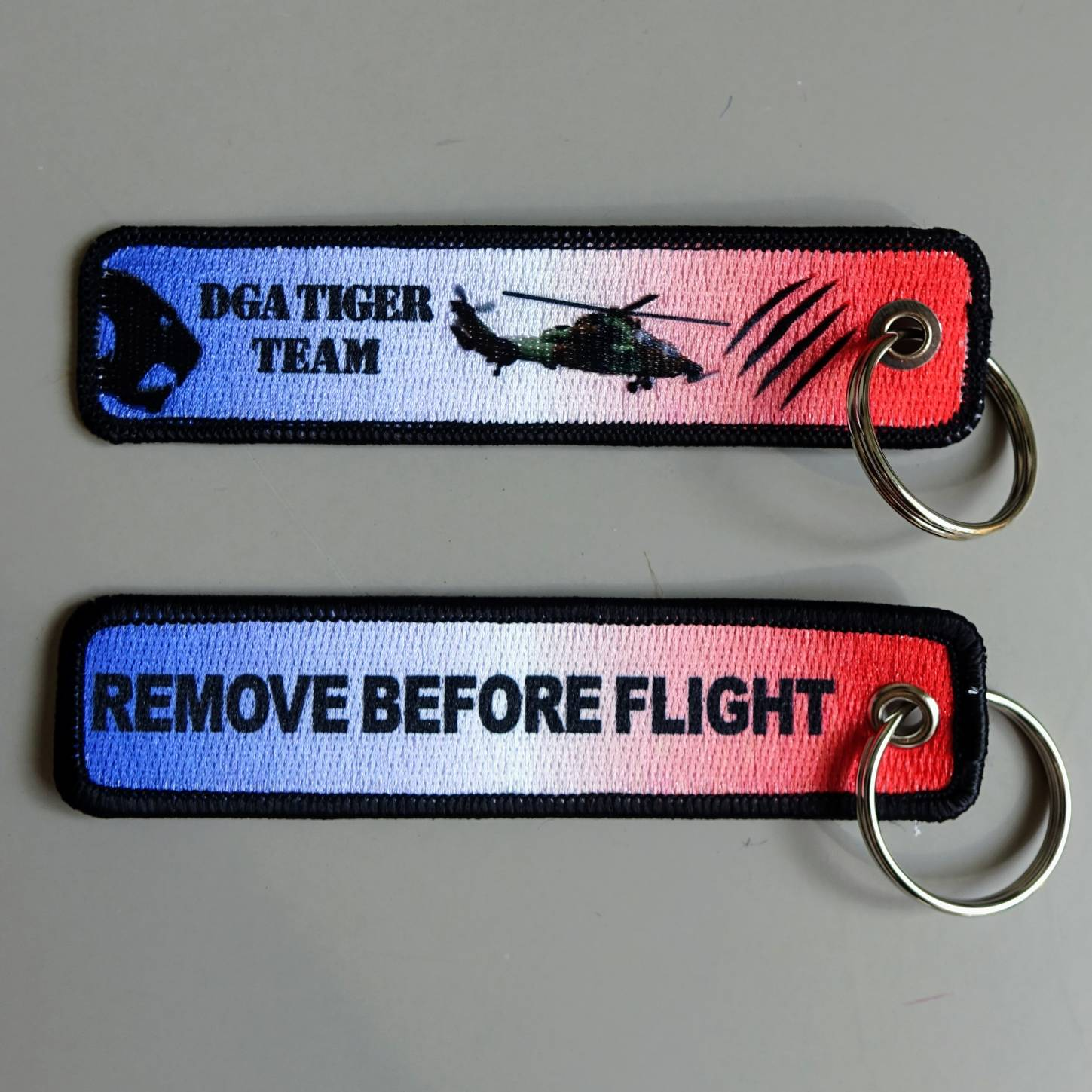 printed on embroidery key chain
