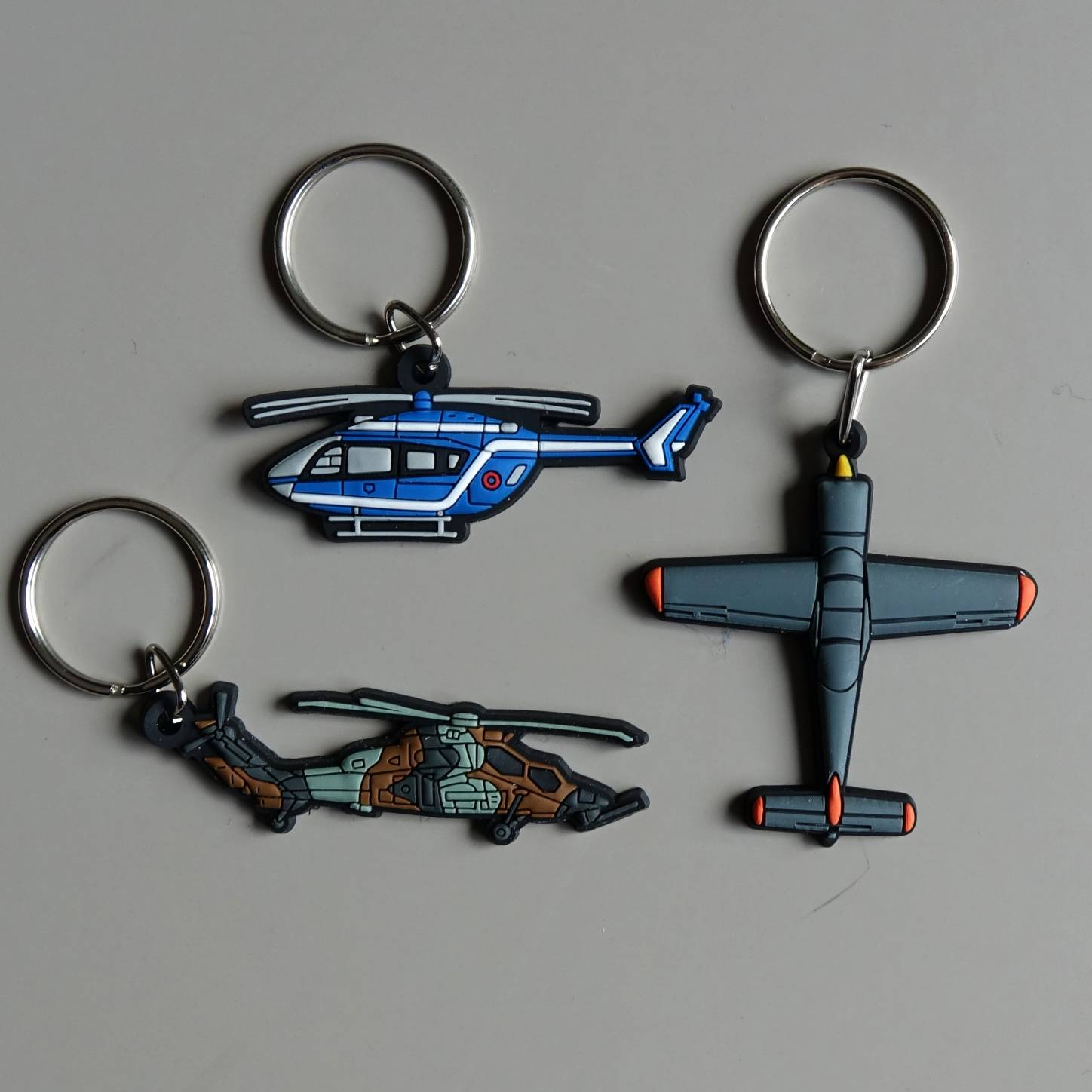 pvc airplane and helicopter key chains